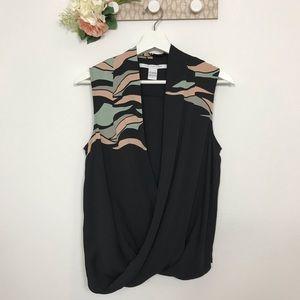 Diane Von Furstenberg Silk Sleeveless Wrap blouse